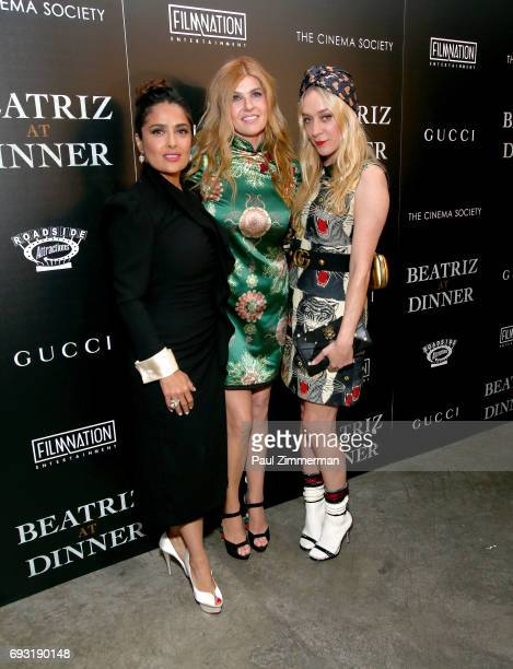 """Salma Hayek, Connie Britton and Chloe Sevigny attend the Gucci & The Cinema Society Host A Screening Of Roadside Attractions' """"Beatriz At Dinner"""" at..."""