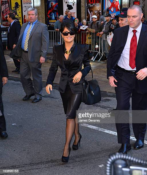 Salma Hayek departs 'Late Show with David Letterman' at Ed Sullivan Theater on October 10, 2012 in New York City.