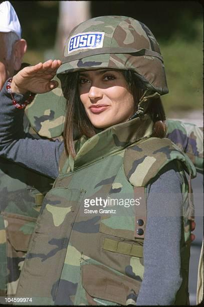 "Salma Hayek during USO's ""Operation Starlift"" at Hollywood Bowl in Hollywood, California, United States."