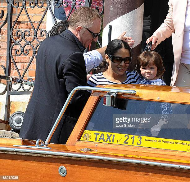 Salma Hayek, Francois-Henri Pinault and daughter Valentina Paloma Pinault leave Cipriani hotel on April 25, 2009 in Venice, Italy.