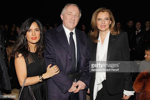 Salma Hayek FrancoisHenri Pinault and Valerie Trierweiler attend the Saint Laurent Men Autumn / Winter 2013 show at Grand Palais as part of Paris...