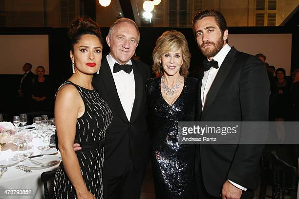 Salma Hayek, Francois-Henry Pinault, Jane Fonda and Jake Gyllenhaal attend the Kering Official Cannes Dinner at Place de la Castre on May 17, 2015 in...