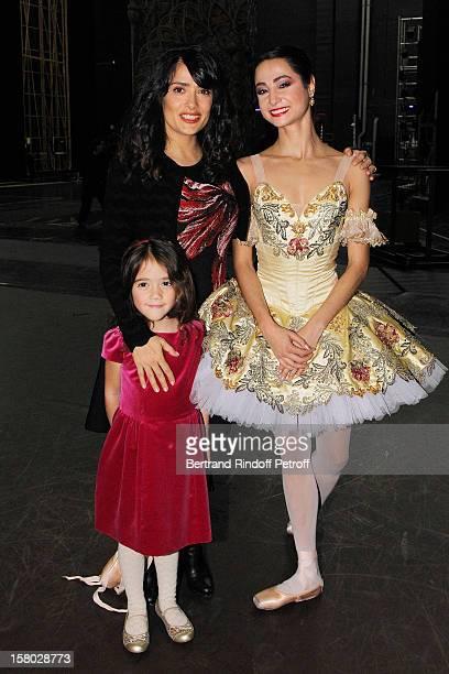 Salma Hayek her daughter Valentina Paloma Pinault and dancer Mathilde Froustey pose after the Don Quichotte Ballet Hosted By 'Reve d'Enfants'...