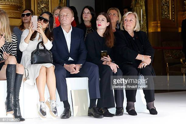 Salma Hayek her husband CEO of Kering Group FrancoisHenri Pinault MarieAgnes Gillot and Maryvonne Pinault attend the Stella McCartney show as part of...