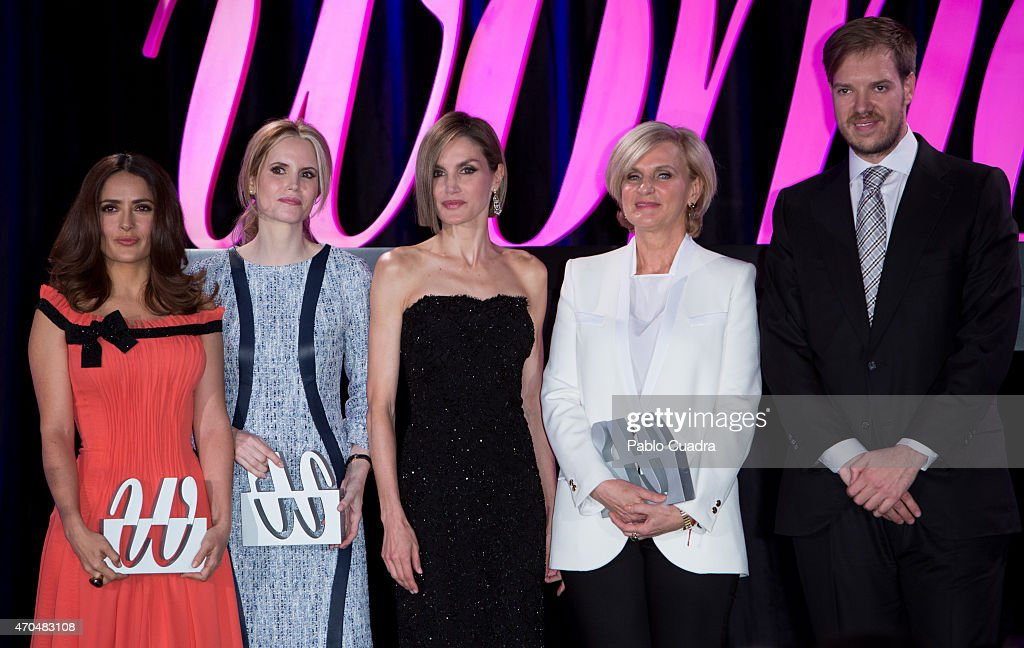 Salma Hayek, Inma Shara, Queen Letizia of Spain, Maria Neira and Antonio Asensio attends 'Woman Awards' at 'Casino de Madrid' on April 20, 2015 in Madrid, Spain.