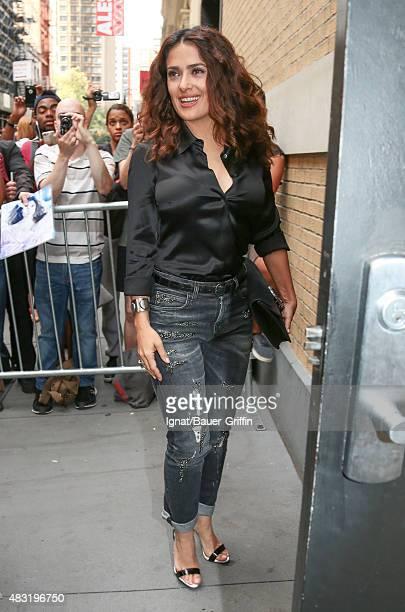 Salma Hayek is seen on August 06 2015 in New York City