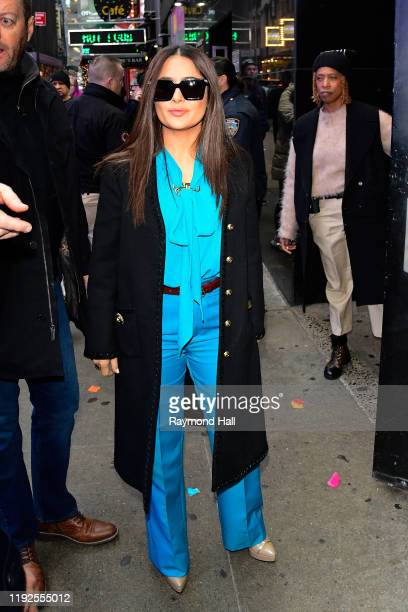 Salma Hayek is seen outside Good Morning America on January 8 2020 in New York City
