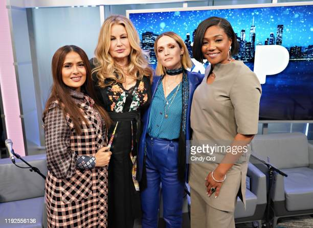 Salma Hayek, Jennifer Coolidge, Rose Byrne and Tiffany Haddish pose for a photo during SiriusXM's Town Hall with the cast of 'Like A Boss' hosted by...