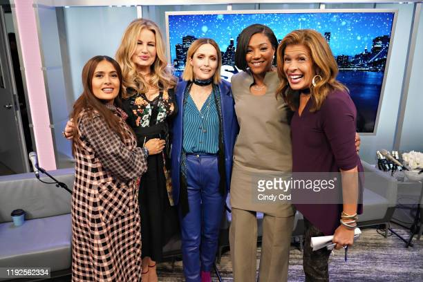 Salma Hayek, Jennifer Coolidge, Rose Byrne, Tiffany Haddish and Hoda Kotb pose for a photo during SiriusXM's Town Hall with the cast of 'Like A Boss'...