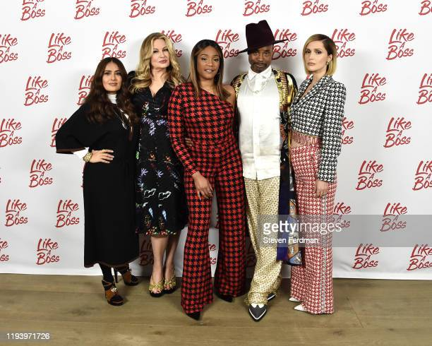 Salma Hayek Jennifer Coolidge Tiffany Haddish Billy Porter and Rose Byrne attend the Like A Boss Photo Call at the Whitby Hotel on December 14 2019...