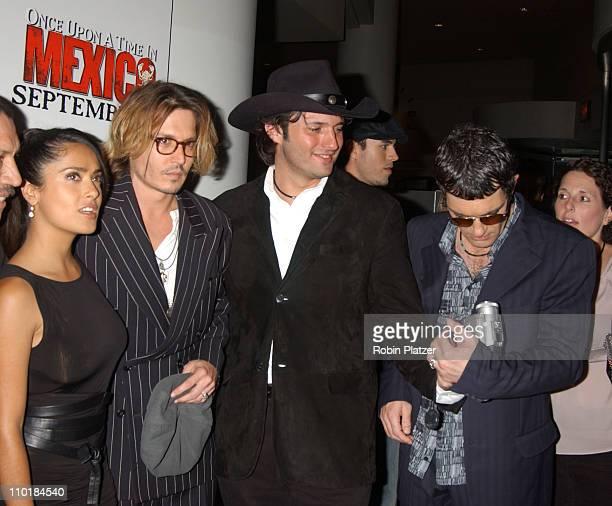 Salma Hayek Johnny Depp Robert Rodriguez and Antonio Banderas