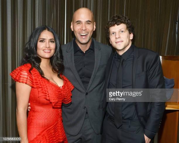 "Salma Hayek, Kim Nguyen and Jesse Eisenberg attend the Cactus Club Cafe and Audi Celebrate ""The Hummingbird Project"" Starring Salma Hayek, Jesse..."