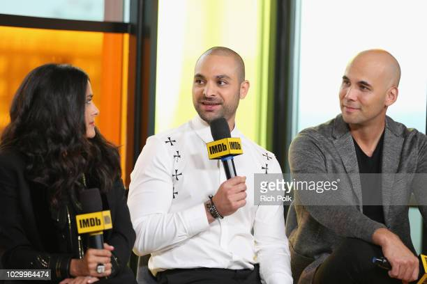 Salma Hayek Michael Mando and director Kim Nguyen of 'The Hummingbird Project' attend The IMDb Studio presented By Land Rover At The 2018 Toronto...