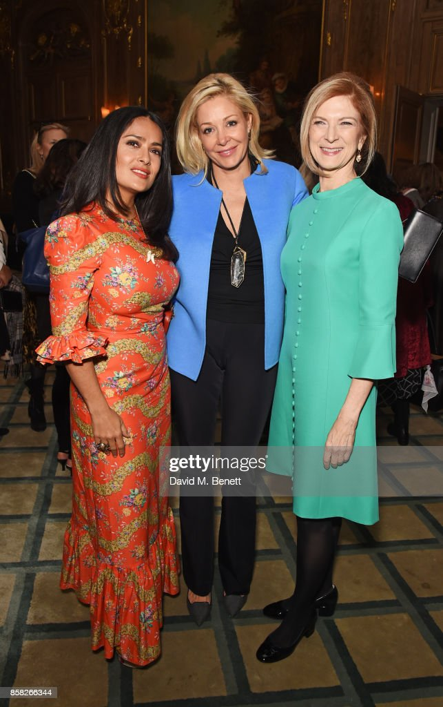 Salma Hayek, Nadja Swarovski and Dawn Hudson, AMPAS CEO, attend the Academy of Motion Picture Arts and Sciences Women In Film lunch at Claridge's Hotel on October 6, 2017 in London, England.