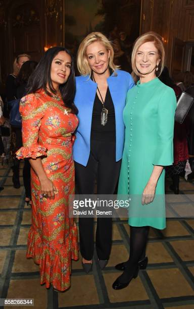 Salma Hayek Nadja Swarovski and Dawn Hudson AMPAS CEO attend the Academy of Motion Picture Arts and Sciences Women In Film lunch at Claridge's Hotel...