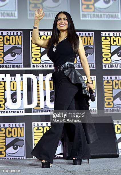 Salma Hayek of Marvel Studios' 'The Eternals' at the San Diego Comic-Con International 2019 Marvel Studios Panel in Hall H on July 20, 2019 in San...