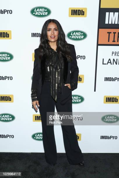 Salma Hayek of The Hummingbird Project attends The IMDb Studio presented By Land Rover At The 2018 Toronto International Film Festival at Bisha Hotel...