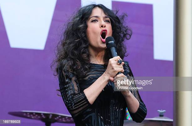 Salma Hayek on stage at The Sound Of Change Live Concert as part of Chime For Change at Twickenham Stadium on June 1 2013 in London England