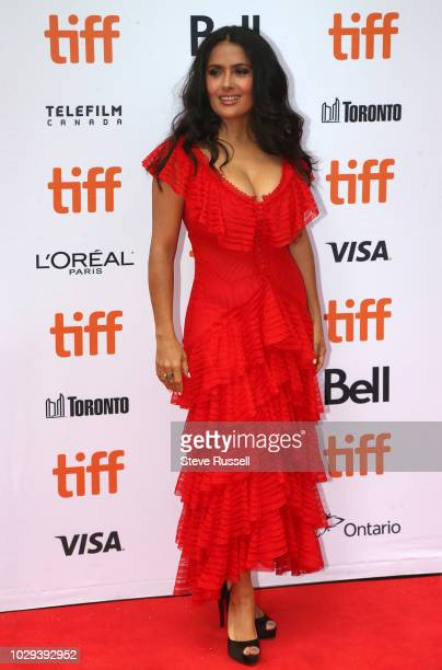 TORONTO ON SEPTEMBER 8 Salma Hayek on the red carpet of the world premeire of the movie The Hummingbird Project at the Toronto International Film...