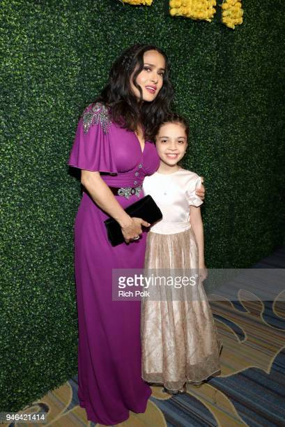Salma Hayek Pinault and Bana alAbed attend the 7th Biennial UNICEF Ball on April 14 2018 in Beverly Hills California