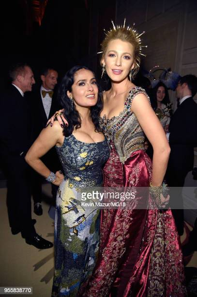 Salma Hayek Pinault and Blake Lively attend the Heavenly Bodies: Fashion & The Catholic Imagination Costume Institute Gala at The Metropolitan Museum...