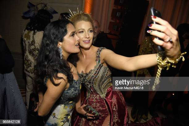Salma Hayek Pinault and Blake Lively attend the Heavenly Bodies Fashion The Catholic Imagination Costume Institute Gala at The Metropolitan Museum of...