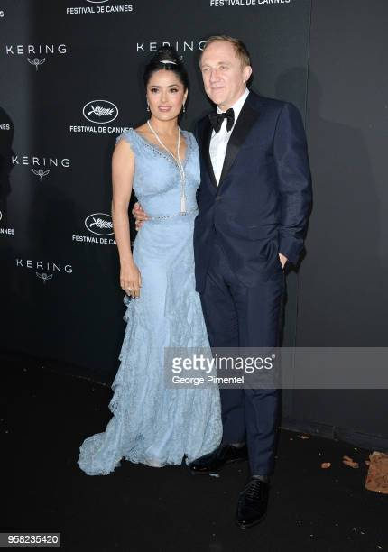 Salma Hayek Pinault and CEO of Kering FrancoisHenri Pinault attends the Kering Women In Motion dinner during the 71st annual Cannes Film Festival at...