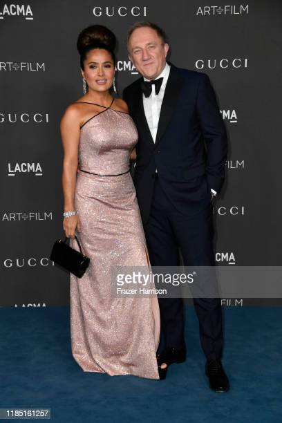 Salma Hayek Pinault and FrançoisHenri Pinault attend the 2019 LACMA 2019 Art Film Gala Presented By Gucci on November 02 2019 in Los Angeles...