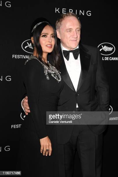 Salma Hayek Pinault and François-Henri Pinault attend the Kering and Cannes Film Festival Official Dinner at Place de la Castre on May 19, 2019 in...