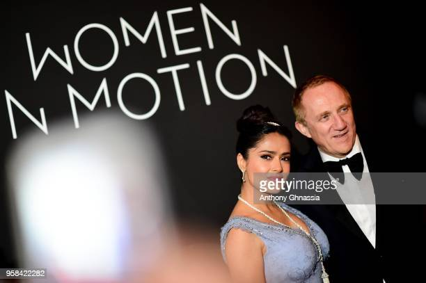 Salma Hayek Pinault and FrançoisHenri Pinault attend the Women in Motion Awards Dinner presented by Kering and the 71th Cannes Film Festival at the...