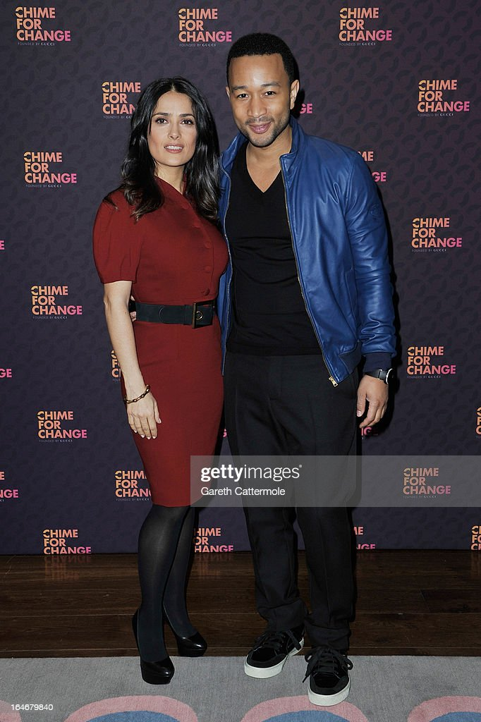 Salma Hayek Pinault and John Legend attend a press conference to announce 'The Sound Of Change Live', a global concert event, at the Soho Hotel on March 26, 2013 in London, United Kingdom. Chime For Change, a global campaign for girls' and women's empowerment founded by Gucci and with a founding committee comprised of Gucci Creative Director Frida Giannini, Salma Hayek Pinault and Beyonce Knowles-Carter, today announced a concert event at London's Twickenham Stadium on June 1 with Co-founder and Artistic Director, Beyonce as headliner. Also set to perform are Ellie Goulding, Florence and the Machine, HAIM, Iggy Azalea, John Legend, Laura Pausini, Rita Ora, Timbaland and more to be announced.