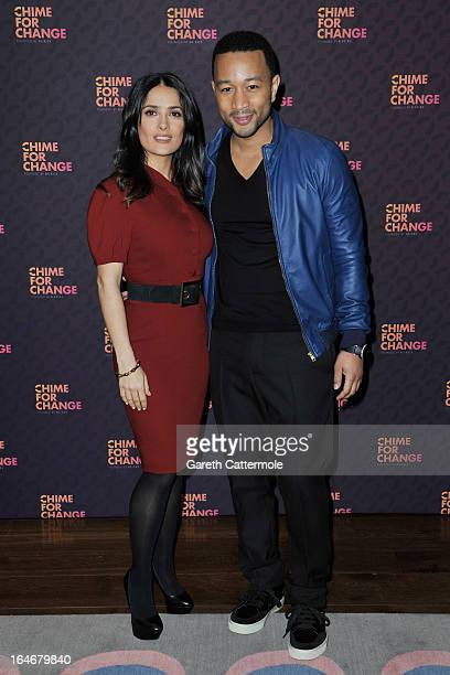 Salma Hayek Pinault and John Legend attend a press conference to announce The Sound Of Change Live a global concert event at the Soho Hotel on March...