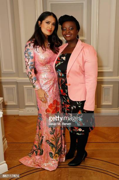 Salma Hayek Pinault and Nozi Salema attend the mothers2mothers Winter Fundraiser hosted by Salma Hayek Pinault and FrancoisHenri Pinault The dinner...