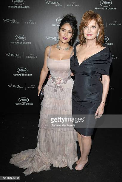 Salma Hayek Pinault and Susan Sarandon attend the Kering And Cannes Film Festival Official Dinner at Place de la Castre on May 15 2016 in Cannes...