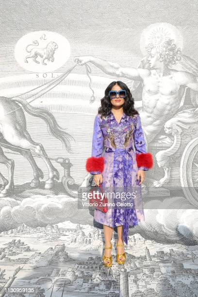 Salma Hayek Pinault arrives at the Gucci show during Milan Fashion Week Autumn/Winter 2019/20 on February 20 2019 in Milan Italy