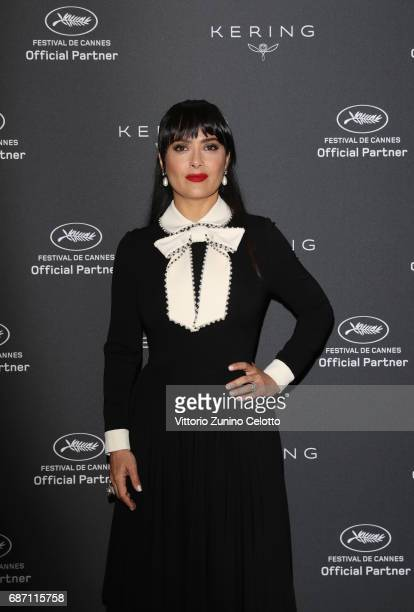 Salma Hayek Pinault attends Kering Talks Women In Motion At The 70th Cannes Film Festival at Hotel Majestic on May 23, 2017 in Cannes, France.