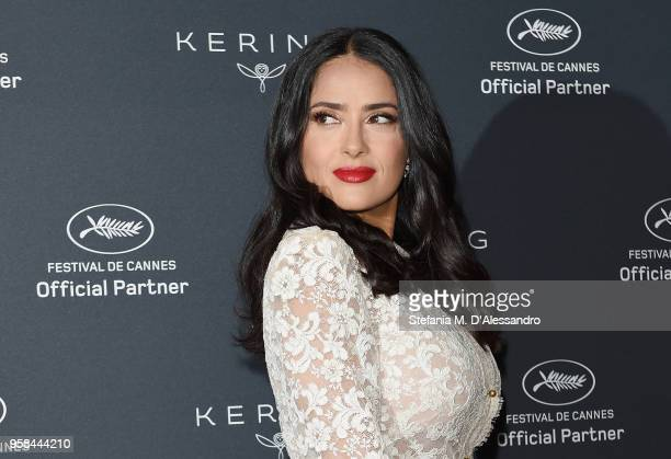 Salma Hayek Pinault attends Kering Talks Women In Motion At The Cannes Film Festival at the Majestic Barriere on May 13 2018 in Cannes France