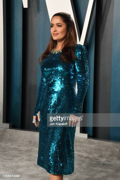 Salma Hayek Pinault attends the 2020 Vanity Fair Oscar Party hosted by Radhika Jones at Wallis Annenberg Center for the Performing Arts on February...