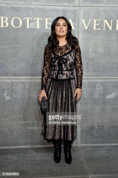 Salma Hayek Pinault attends the Bottega Veneta Fall/Winter 2018 fashion show at New York Stock Exchange on February 9 2018 in New York City