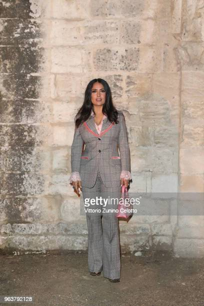 Salma Hayek Pinault attends the Gucci Cruise 2019 show at Alyscamps on May 30 2018 in Arles France