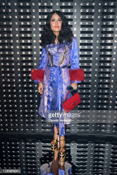 Salma Hayek Pinault attends the Gucci show during Milan Fashion Week Autumn/Winter 2019/20 on February 20 2019 in Milan Italy