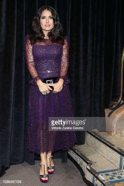 Salma Hayek Pinault attends the Gucci show during Paris Fashion Week Spring/Summer 2019 on September 24 2018 in Paris France