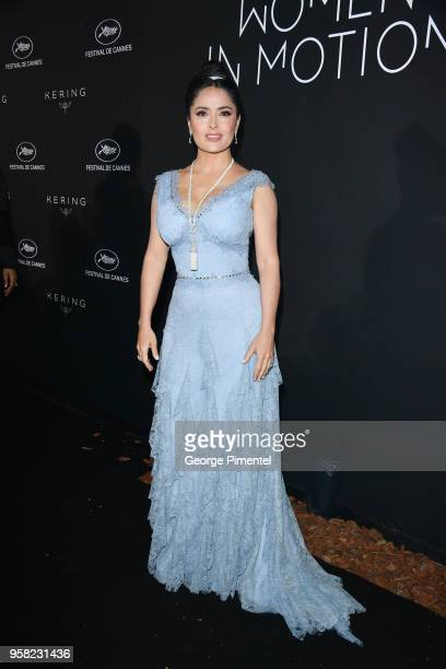 Salma Hayek Pinault attends the Kering Women In Motion dinner during the 71st annual Cannes Film Festival at Place de la Castre on May 13 2018 in...