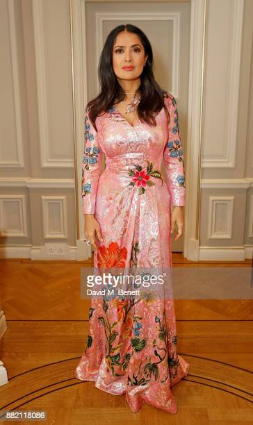 Salma Hayek Pinault attends the mothers2mothers Winter Fundraiser hosted by Salma Hayek Pinault and FrancoisHenri Pinault The dinner is in support of...