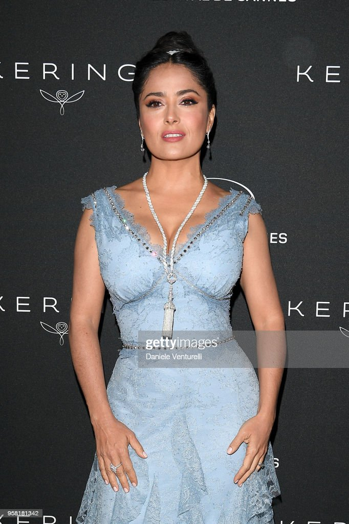 Salma Hayek Pinault attends the Women in Motion Awards Dinner, presented by Kering and the 71th Cannes Film Festival, at Place de la Castre on May 13, 2018 in Cannes, France.