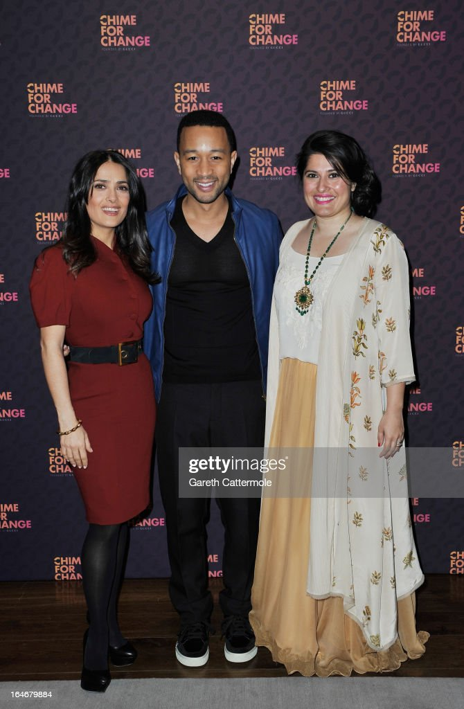 Salma Hayek Pinault, John Legend and Sharmeen Obaid-Chinoy attend a press conference to announce 'The Sound Of Change Live', a global concert event, at the Soho Hotel on March 26, 2013 in London, United Kingdom. Chime For Change, a global campaign for girls' and women's empowerment founded by Gucci and with a founding committee comprised of Gucci Creative Director Frida Giannini, Salma Hayek Pinault and Beyonce Knowles-Carter, today announced a concert event at London's Twickenham Stadium on June 1 with Co-founder and Artistic Director, Beyonce as headliner. Also set to perform are Ellie Goulding, Florence and the Machine, HAIM, Iggy Azalea, John Legend, Laura Pausini, Rita Ora, Timbaland and more to be announced.