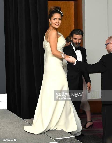 Salma Hayek Pinault poses at the 92nd Annual Academy Awards at Hollywood and Highland on February 09, 2020 in Hollywood, California.