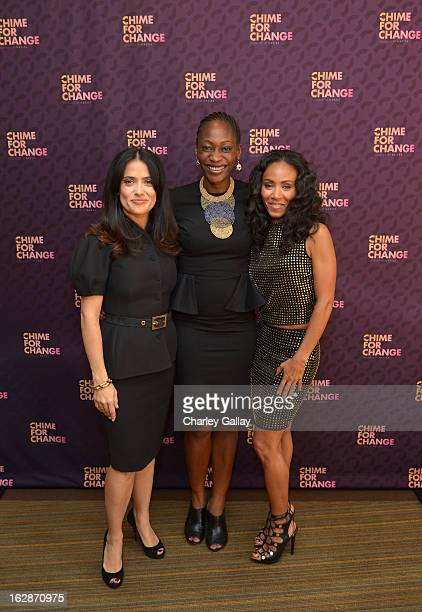 Salma Hayek Pinault PPR Corporate Foundation for Women's Dignity and Rights Hafsat Abiola and actress Jada Pinkett Smith attend the launch of Chime...