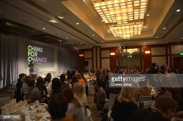 Salma Hayek Pinault PPR Corporate Foundation for Women's Dignity and Rights speaks at the launch of Chime for Change founded by Gucci at TED held at...
