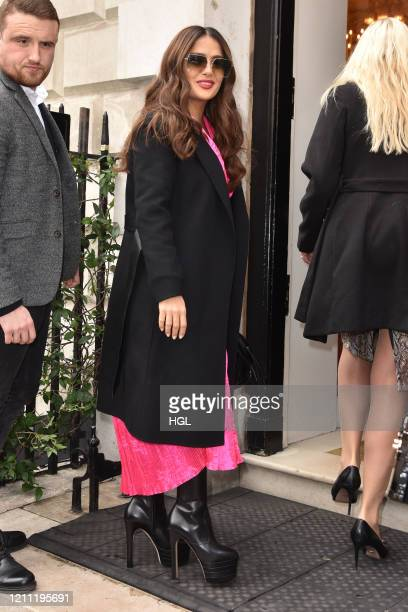 Salma Hayek Pinault seen arriving at Annabel's club in Mayfair on March 08, 2020 in London, England.